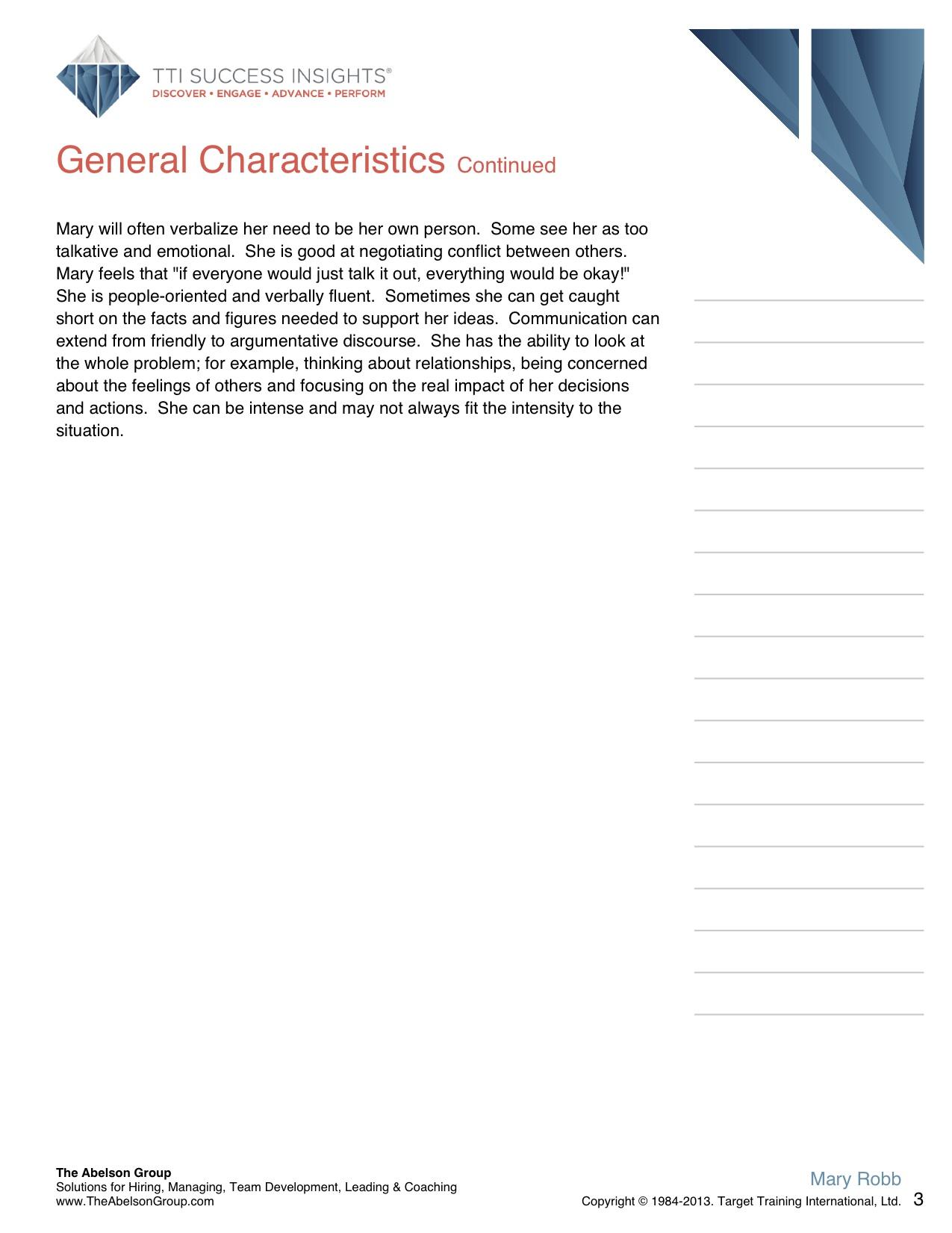 General Characteristics Cont'd